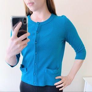 Kate Spade Cardigan (Blue, M, Bow Pockets)